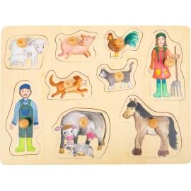Puzzle drewniane z uchwytami Montessori - farma