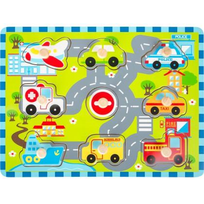 Puzzle drewniane - pojazdy