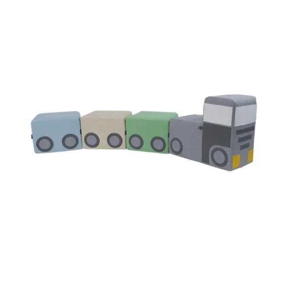 Zestaw kształtek - autko z przyczepkami
