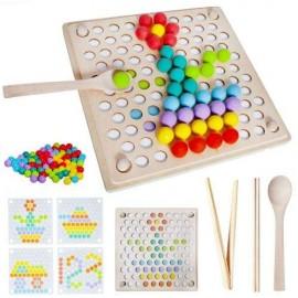 Układanka Montessori - drewniane kolorowe kulki