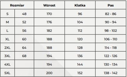 tabela rozmiarów fartuchów